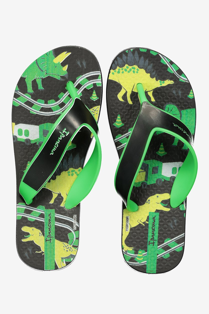Kid's Boys Deck Inf Slipper, Black/Green/Yellow