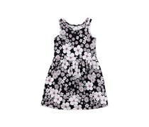 Floral-Print Cotton Tank Dress, Black/White