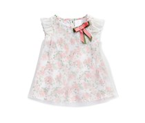 Sweet Heart Rose Girl's Pleated Floral-Print Dress, White