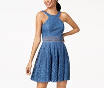 City Studio Juniors' Lace Fit & Flare Dress, Blue