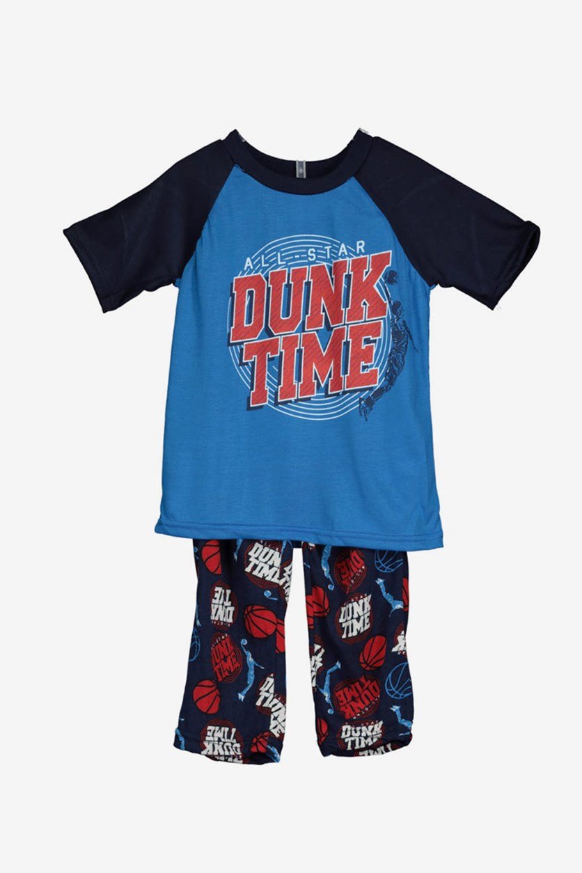Toddler Boys Dunk Time Pajama Set, Blue/Navy