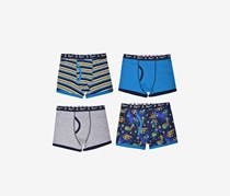 Penguin Boys' 4-Pack Cotton Jersey Boxer Briefs, Navy/Grey Combo