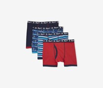Penguin Kids 4 Boxer Briefs, Navy/Red Combo
