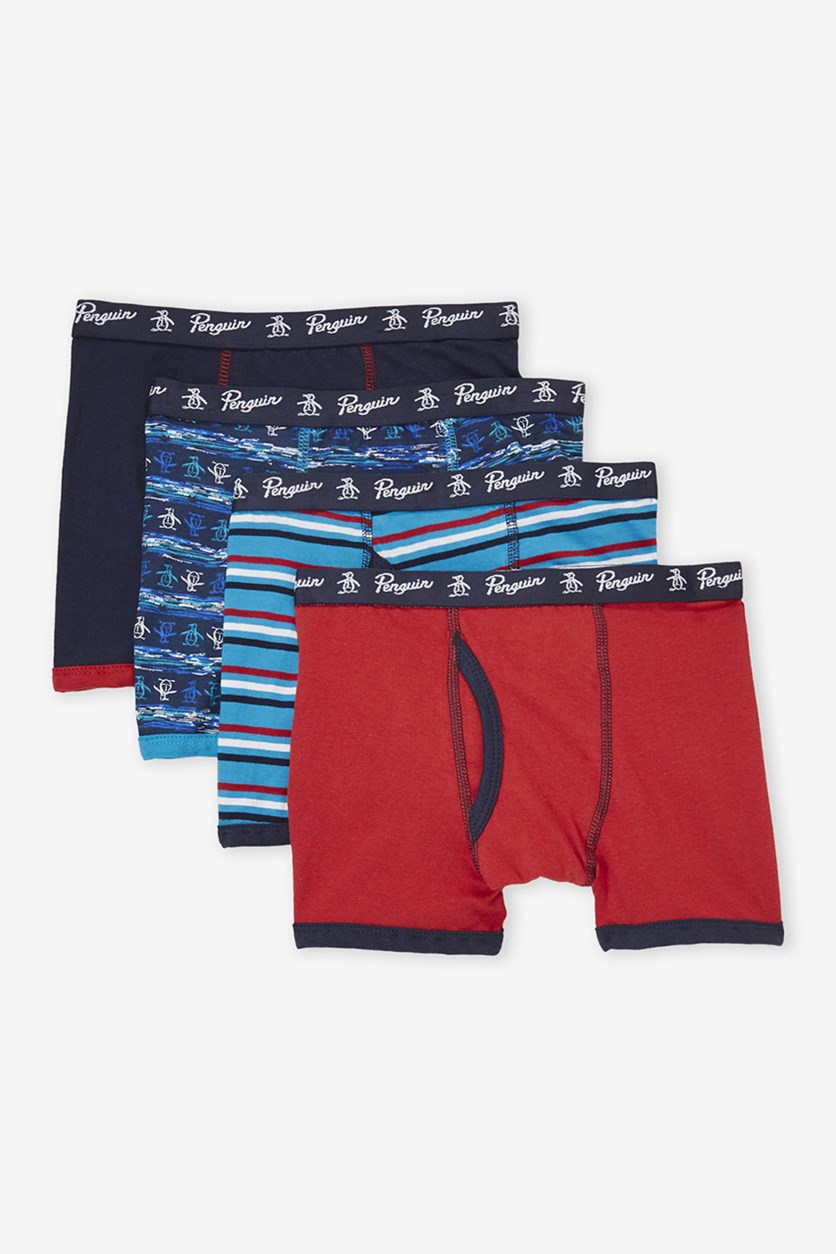 Kids 4 Boxer Briefs, Navy/Red Combo