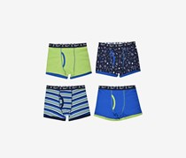Penguin Boys' 4-Pack Cotton Jersey Boxer Briefs, Navy/Yellow Green Combo