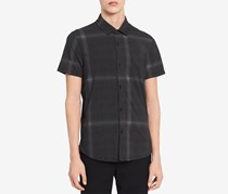 Calvin Klein Men's Block Checked Shirt, Black Combo