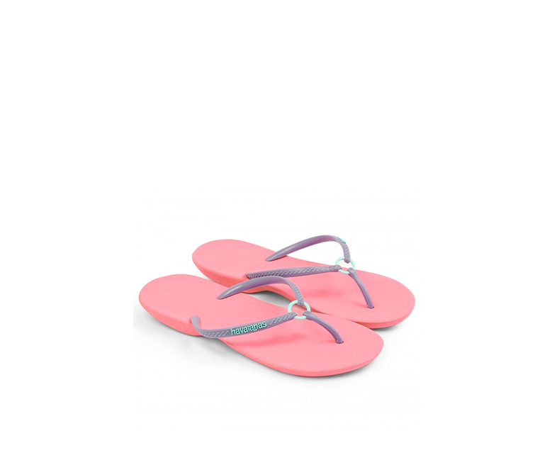 Havaianas Women's Ring Flip Flop slippers, Coral/Purple
