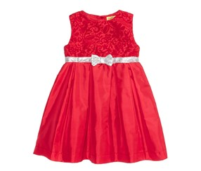 Penelope Mack Girls Sequin-Bow Dress, Red