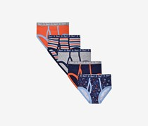Boys 5-Pack Tagless Printed Boxer Briefs, Orange Combo