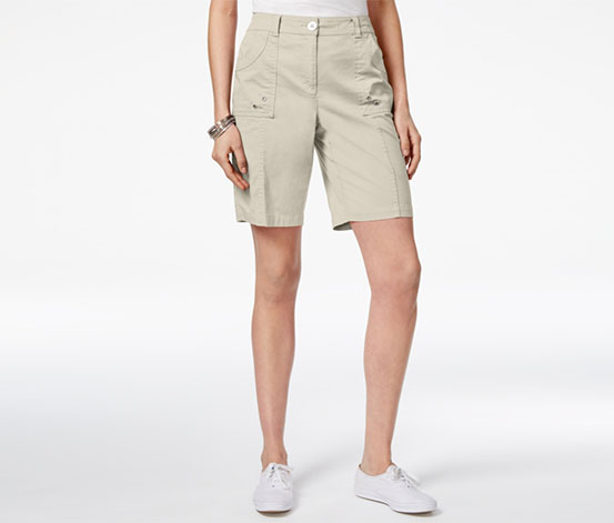 Karen Scott Women's Curved-Pocket Short, Beige