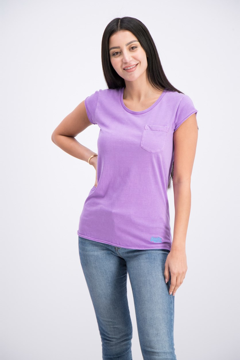 Women's Chest Pocket Tee, Hyper Lavender