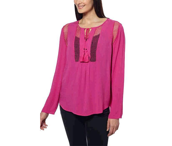 Joseph A Women's Crinkle Blouse, Dusty Rose
