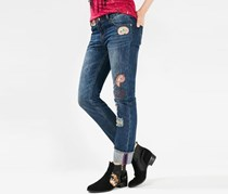 Women's Patches Jeans, Navy Wash