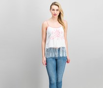 Cropp Women's Sleeveless Fringe Hem Top, White/Pink