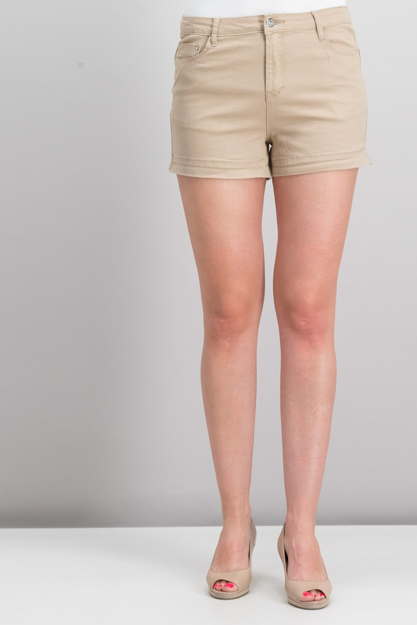 Women's Plain Denim Short, Beige