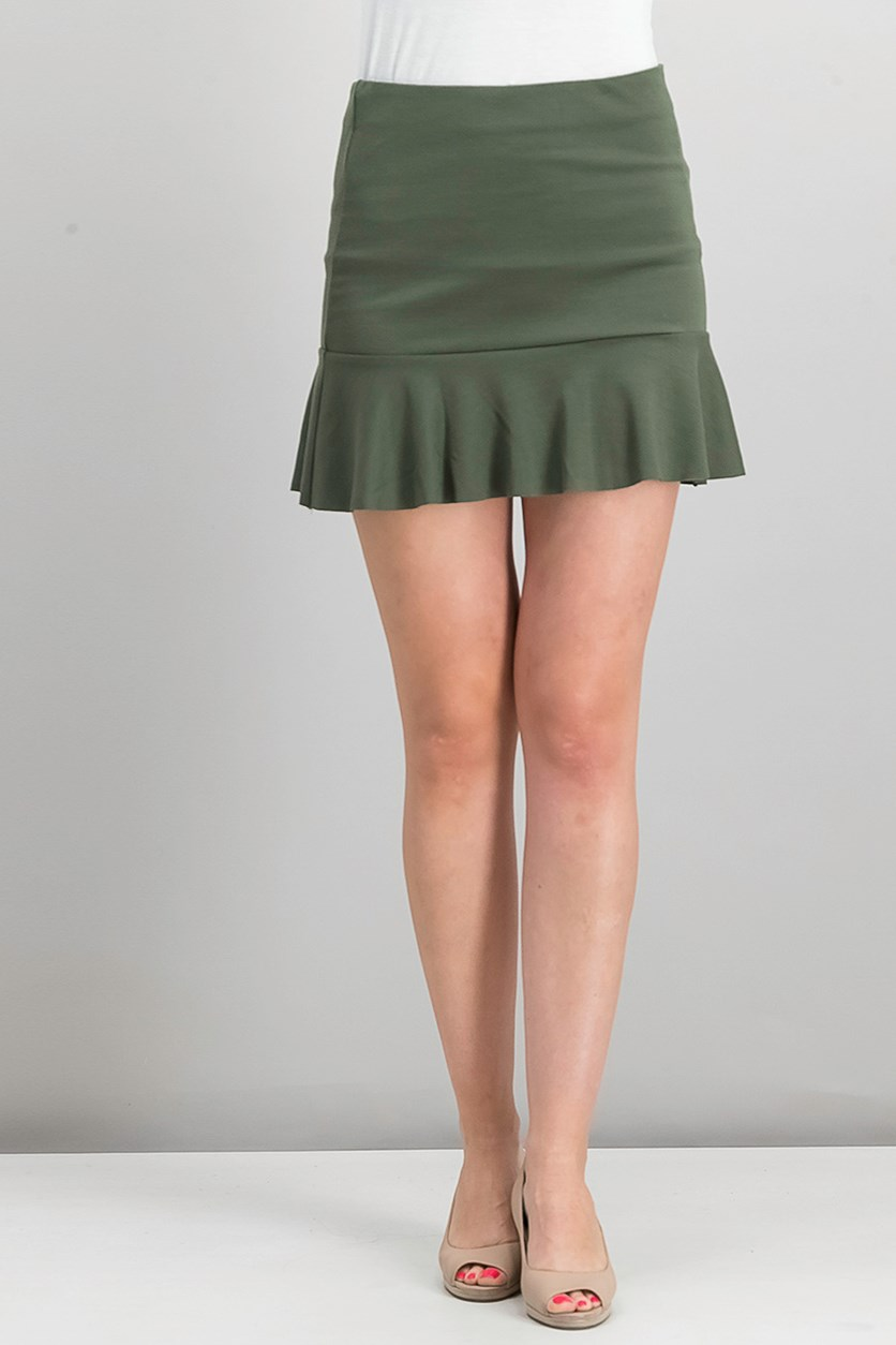 Women's Casual Side Zipper Skirt, Olive