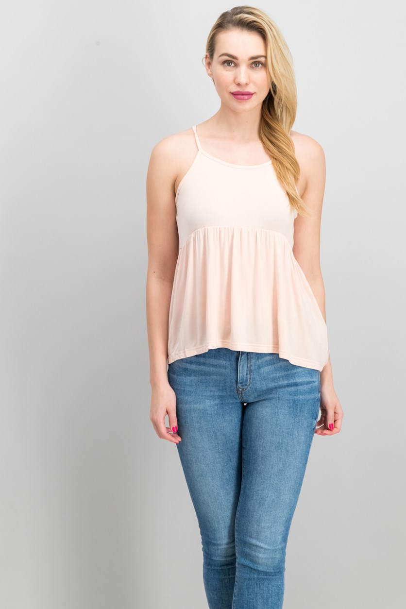 Womens Pleated Top, Pale Pink