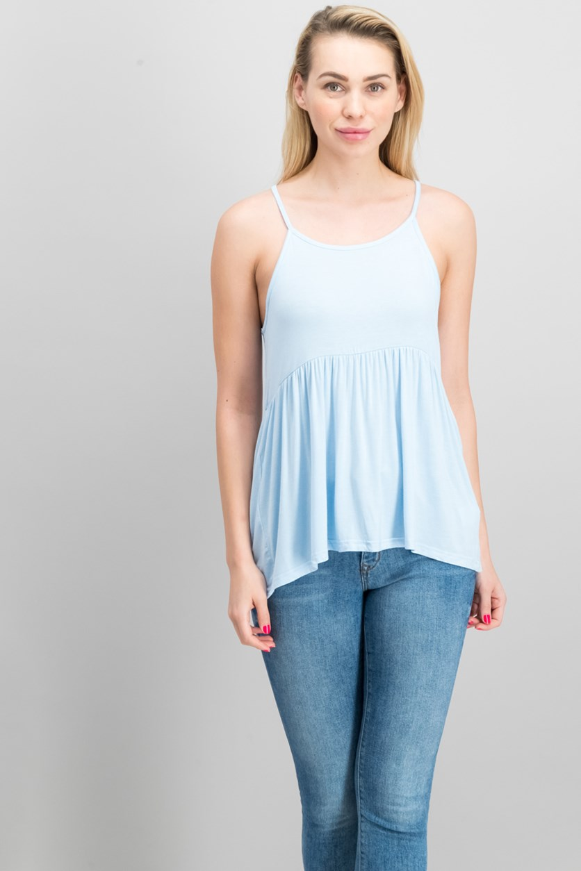 Women's Pleated Top, Light Blue
