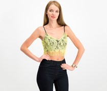 House Women's Lace Fringe Crop Top, Yellow Green