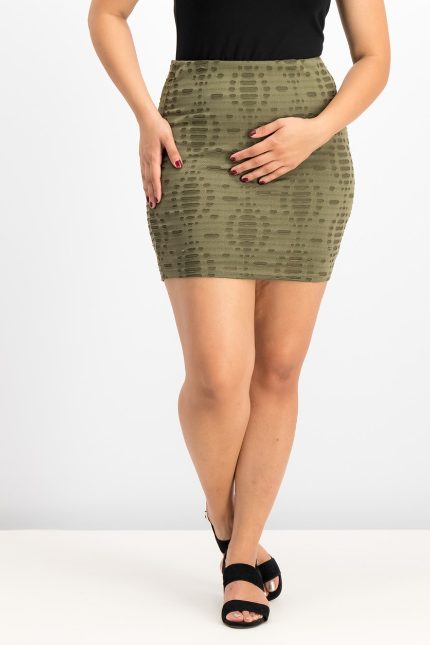 Women's  Destroyed Lace Skirt, Olive