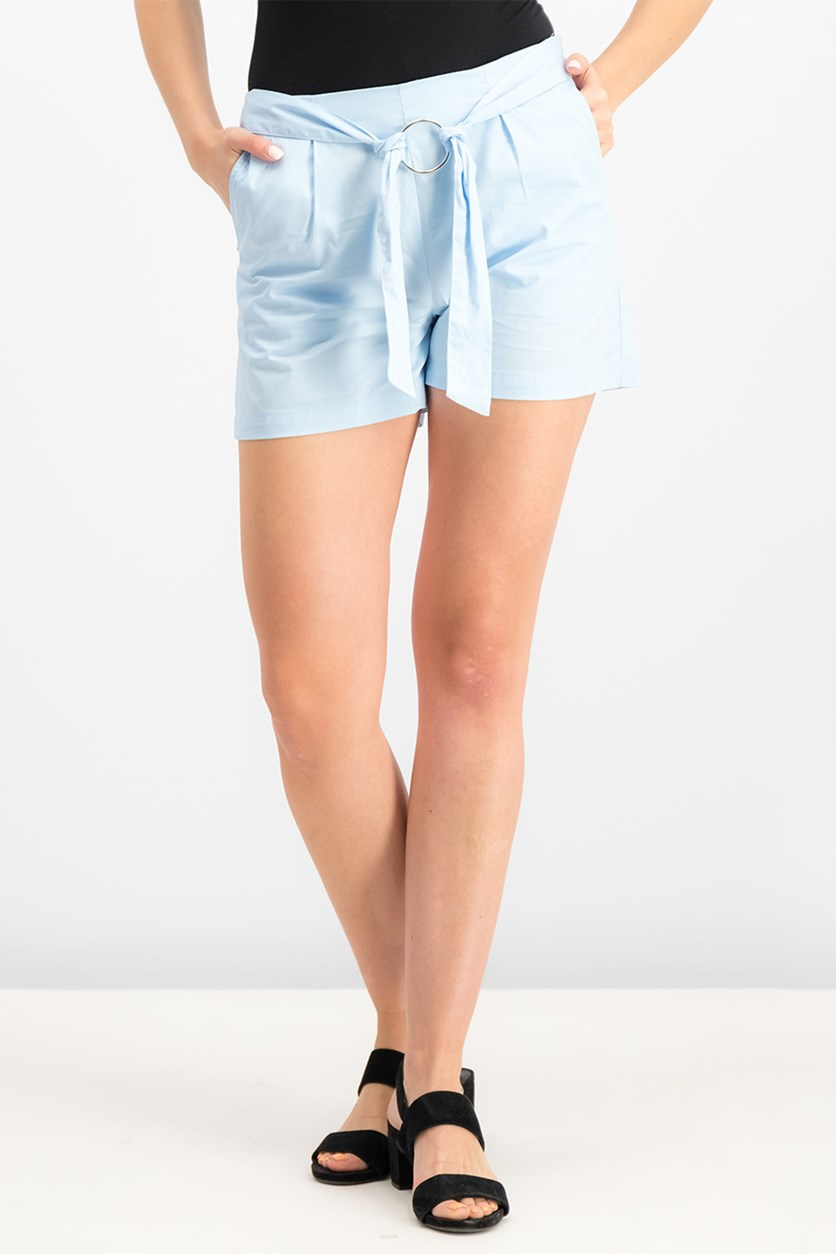 Women's High Waist Tie Shorts, Light Blue