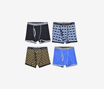 Perry Ellis Boy's 4-Pack Boxer Brief, Blue/Navy/Yellow