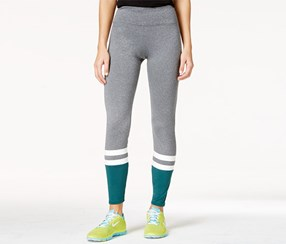 Energie Active Women's Claire Striped Colorblocked Leggings, Grey