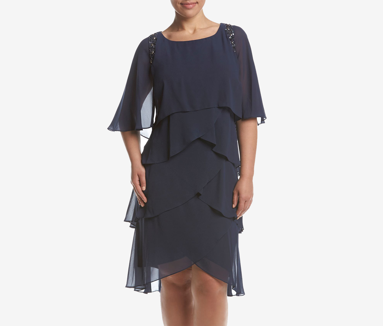 Fashions Plus Size Embellished Tiered, Navy