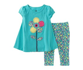 Kids Headquarters Girl's  Set Florals, Green