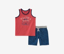 Nautica Graphic-Print Tank Top And Shorts Set, Red/Bue