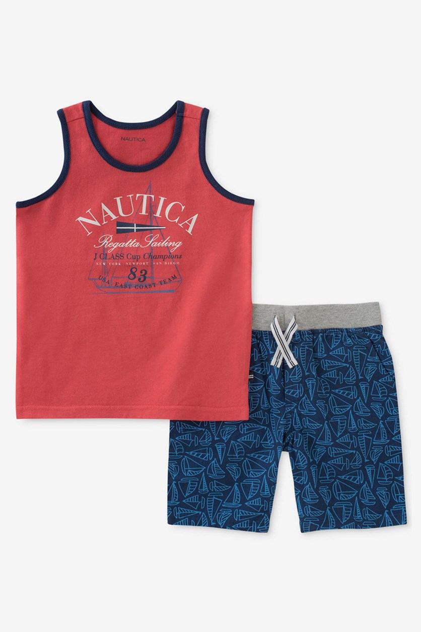 Graphic-Print Tank Top And Shorts Set, Red/Bue