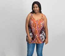 International Concepts Women's Plus Size Printed Top, Rust