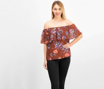 Bar III Printed Off-The-Shoulder Floral Print Top, Chutney