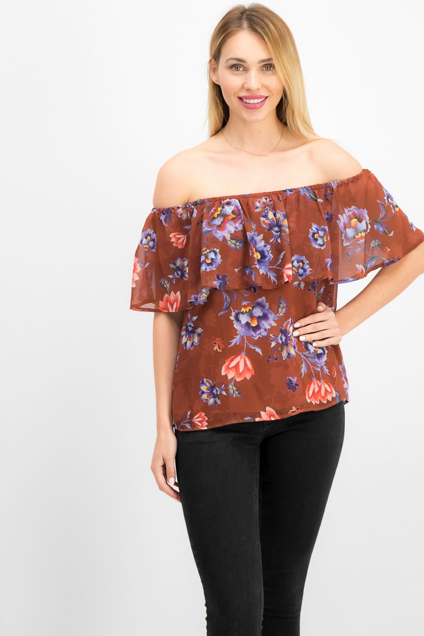 Printed Off-The-Shoulder Floral Print Top, Chutney