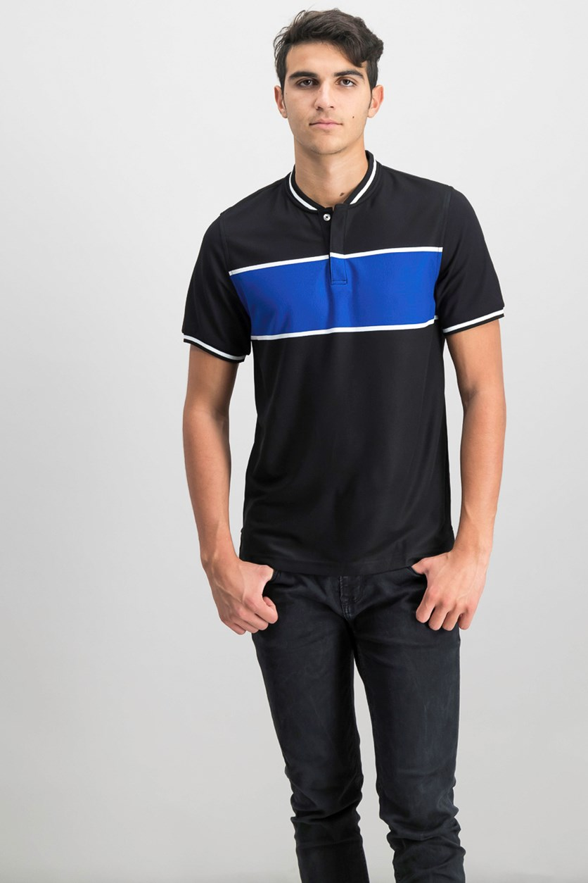 Mens Colorblocked Stripe T-shirt, Deep Black Combo