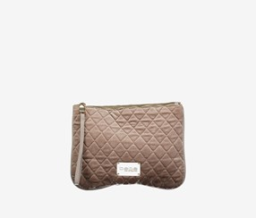 Women Danielle Quilted Wristlet, Taupe