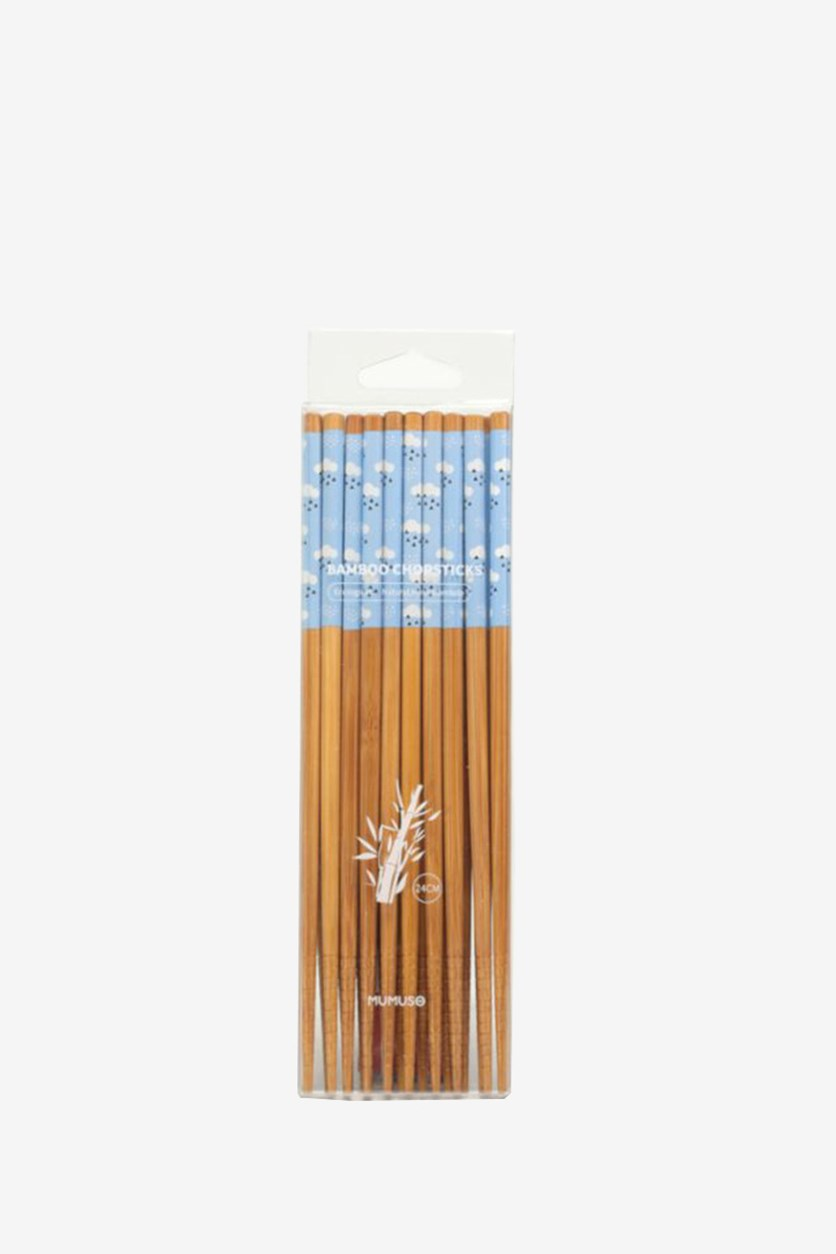 10 Pairs Style Bamboo Chopsticks, Brown/Blue