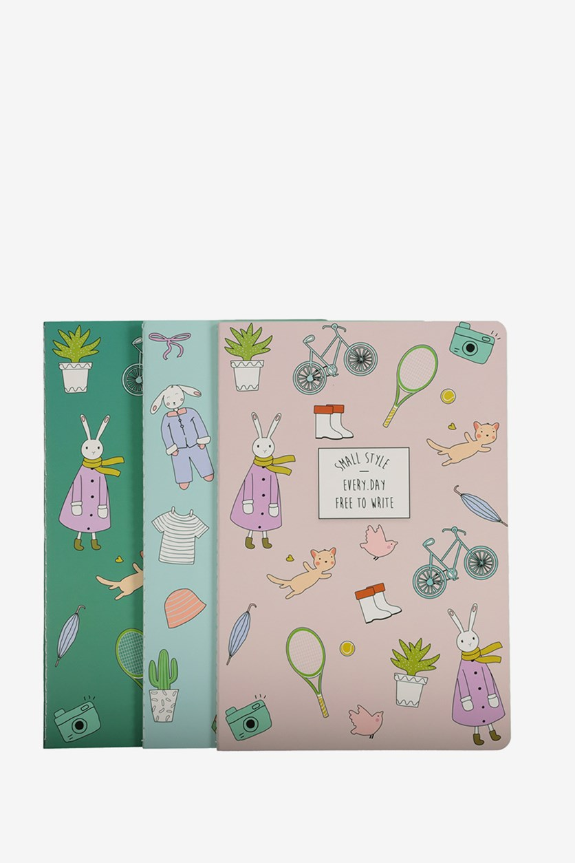 3-Pack Happy Hour A5 Stitching Notebook, Green Combo