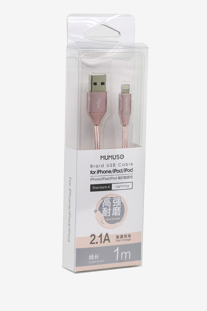 Braid Usb Cable For Iphone/Ipad/Ipod, Rose Gold