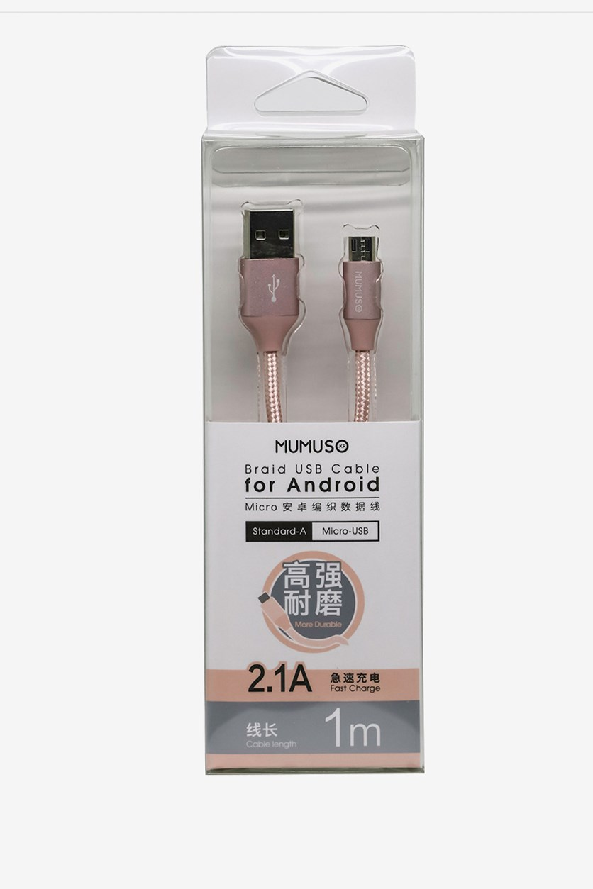 Braid Usb Cable For Android-2.1A, Rose Gold