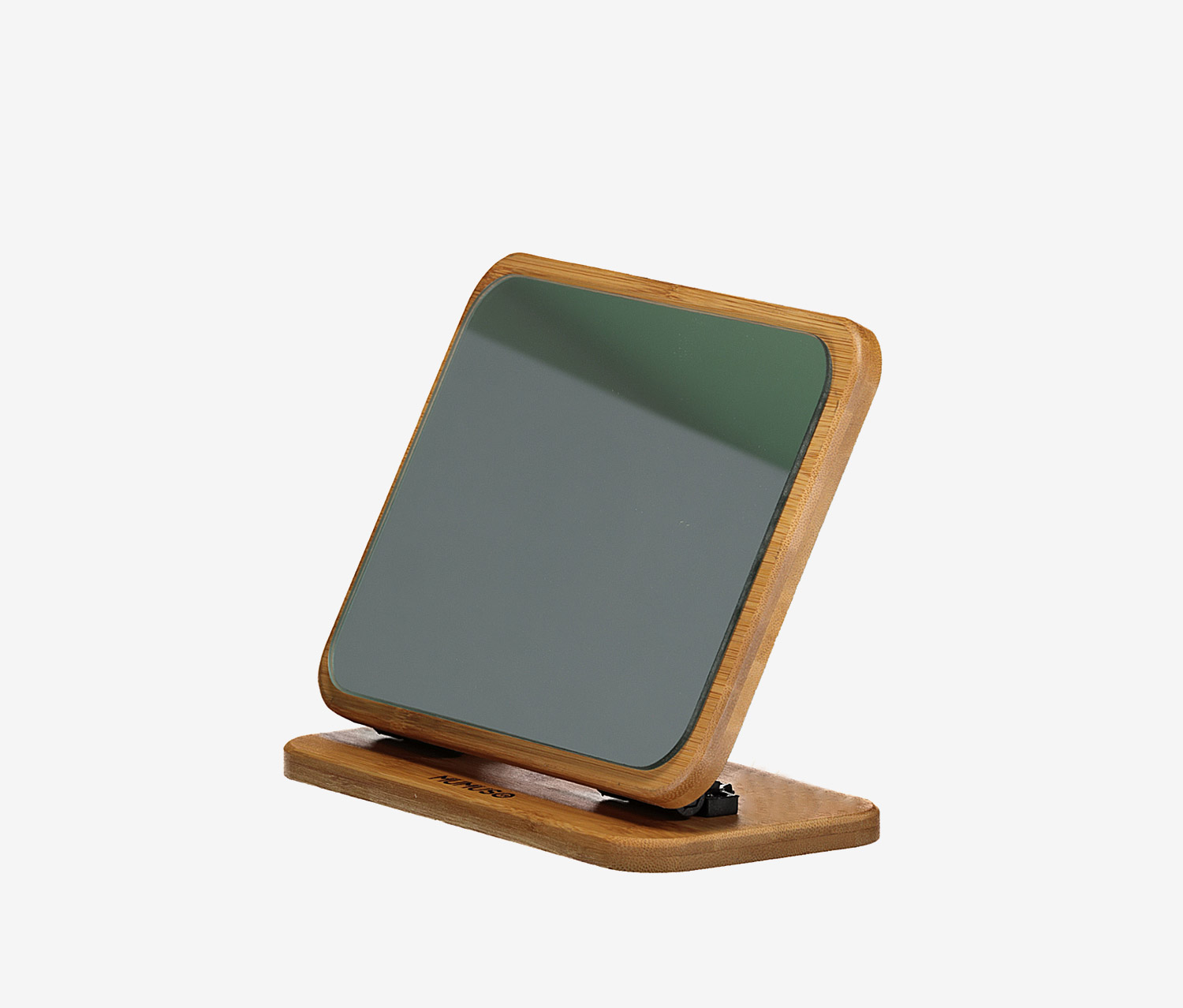 Square Bamboo Desk Mirror, Brown