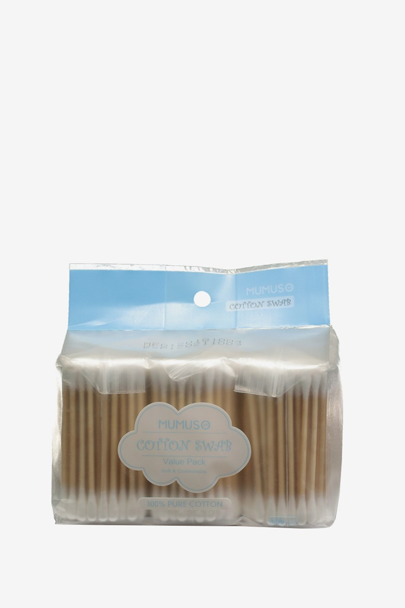 Cotton Swab Value Pack 600pcs, White/Brown