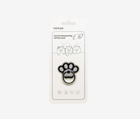 Cute Claw Rhinestone Ring Cell Phone Stand, Black/White