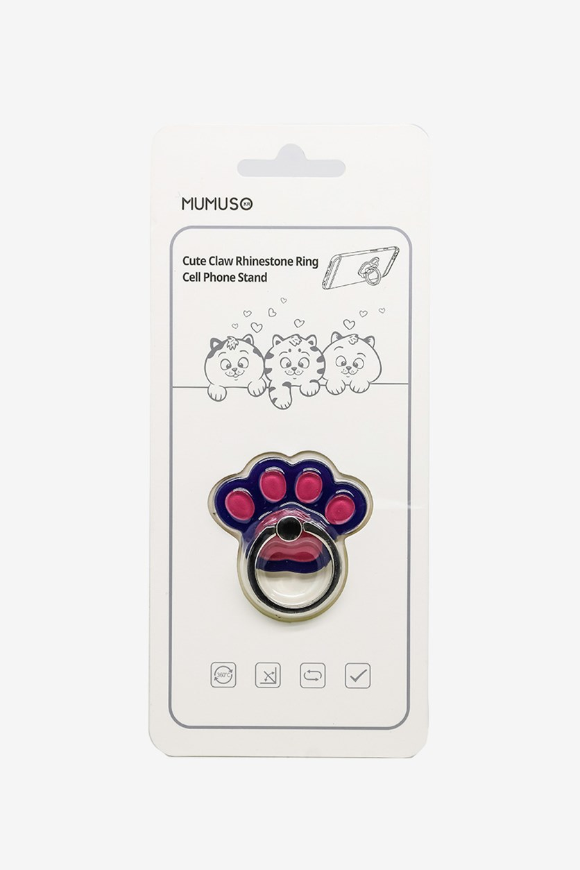 Cute Claw Rhinestone Ring Cell Phone Stand, Pink/Purple