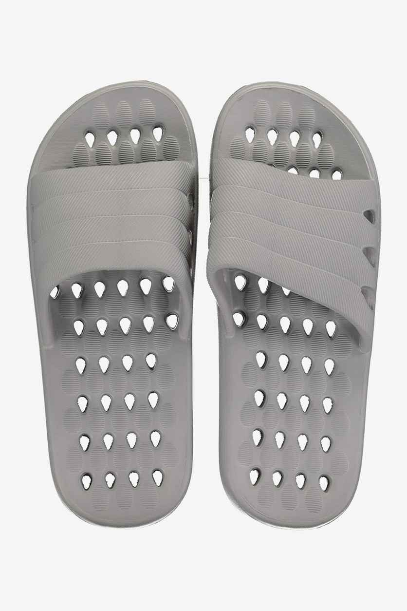 Men's Hole Sole Massage Slippers, Grey