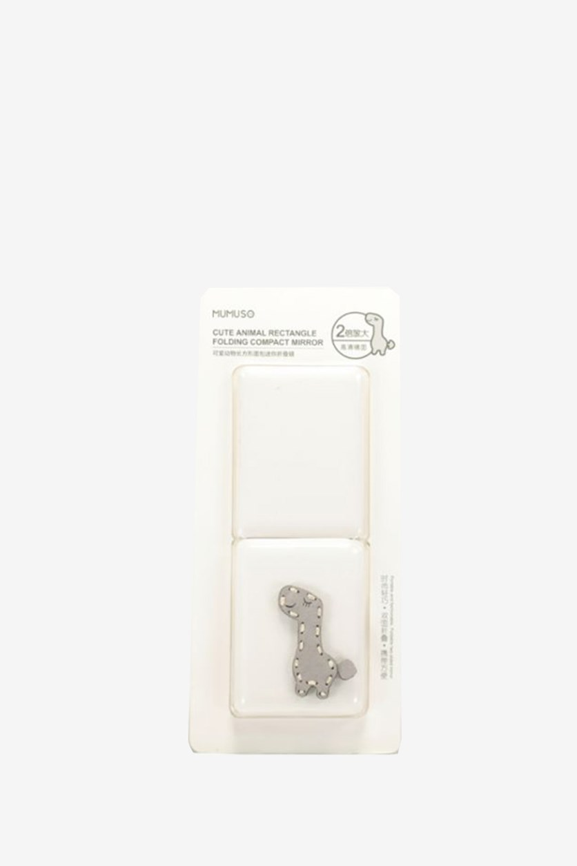 Cute Animal Rectangle Folding Compact Mirror, White