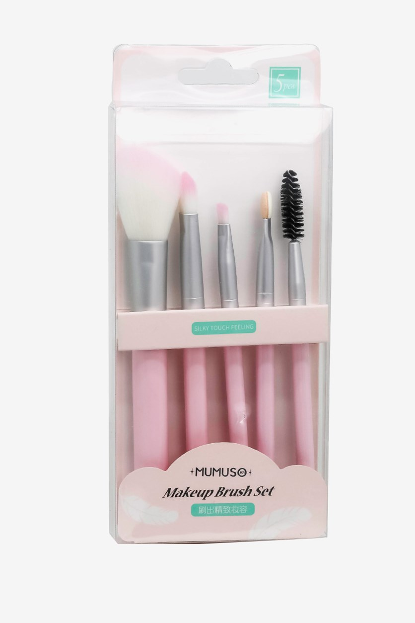 Makeup Brush Set of 5, Pink
