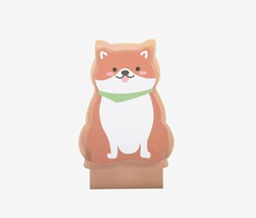 Cute Cartoon Animal Standing Sticky Note, White/Brown