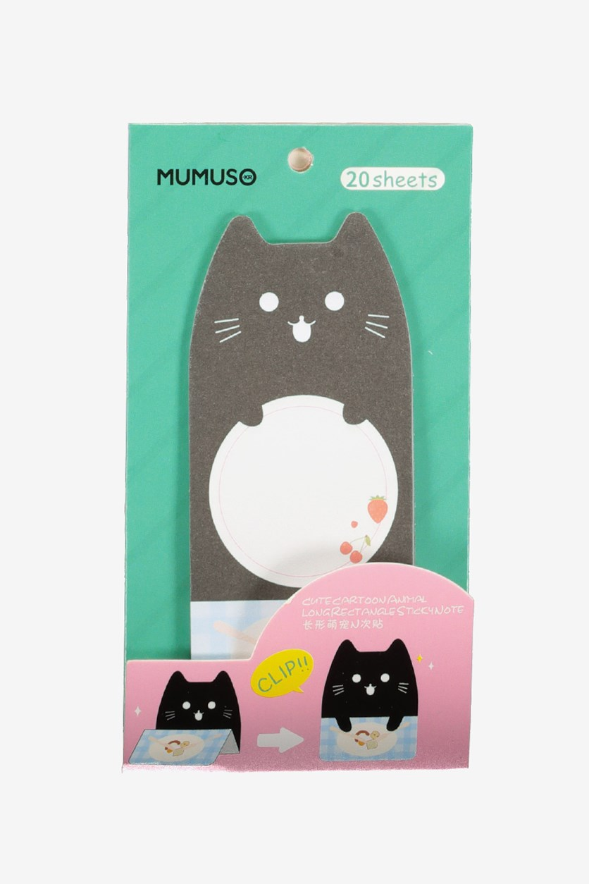 Cute Cartoon Animal Long Rectangle Sticky Note, Black