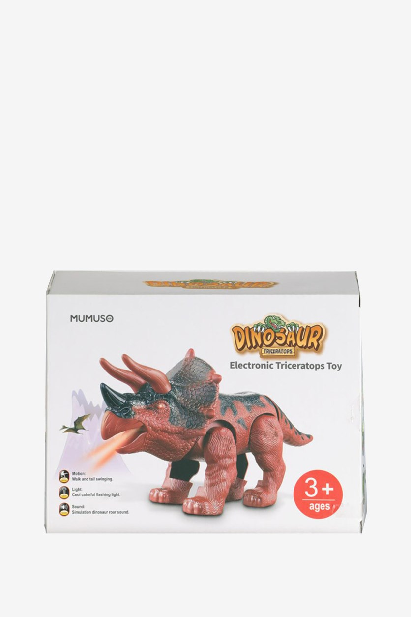 Electronic Triceratops Toy, Brown Combo